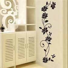 Black Flowers Vine Wall Art Mural Removable Pvc Wall Decal For Bedroom Nordicwallart Com