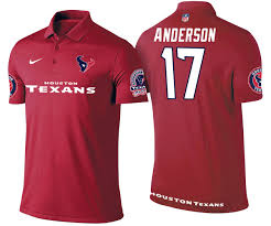 Texans #17 Dres Anderson Red Polo Shirt