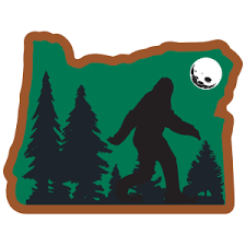 Bigfoot Walking In Oregon Sticker Heart Sticker Company