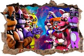 Five Nights At Freddy S 3d Smashed Wall Decal Wall Sticker Wall Vinyl Broken Wall Fnaf Five Nights At Freddy S Five Night