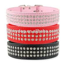 rhinestone leather dog collars 4cm wide