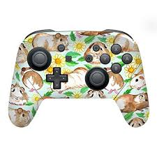 Amazon For Head Case Designs Officially Licensed Micklyn Le Feuvre Guinea Pigs And Daisies In Watercolour On Mint Art Mix Glossy Vinyl Sticker Skin Decal Cover Compatible With Nintendo Switch Pro Controller
