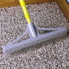carpet rake matted carpet using