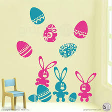 Easter Wall Decals Holiday Eggs And Bunny Wall Decoration Graphicsmesh
