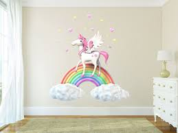 Harriet Bee Fairy Tales Fantasy Magic Unicorn On Rainbow And Clouds Wall Decal Wayfair