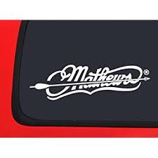 Amazon Com Mathews Archery Logo With Arrow White Hunting Window Decal Sticker Automotive