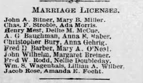 Ada Morris & Chas. F. Stroble, 1885 Marriage License - Newspapers.com