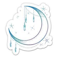 Beautiful Crescent Moon And Crystals 3 Vinyl Sticker For Car Laptop I Pad Phone Helmet Hard Hat Waterproof Decal Walmart Com Walmart Com