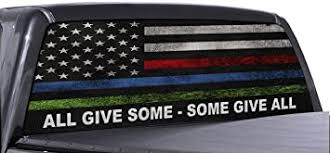 Amazon Com Fgd Brand Truck Rear Window Wrap Police Fire Military American Flag Perforated Vinyl Decal Automotive