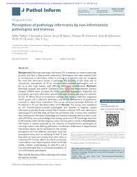 PDF) Perceptions of pathology informatics by non-informaticist ...