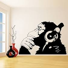 Amazon Com 79 X 55 Banksy Vinyl Wall Decal Monkey With Headphones One Color Chimp Listening To Music In Earphones Street Graffiti Sticker Free Decal Gift Home Kitchen