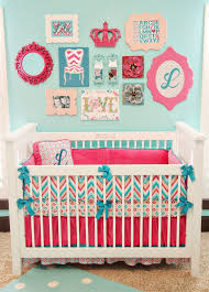 crib bedding and baby chair aqua