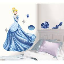 Roommates 18 In X 40 In Disney Princess Cinderella Glamour 18 Piece Peel And Stick Giant Wall Decal Rmk1957gm The Home Depot