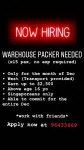 warehouse istant needed till end