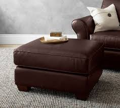 pb comfort leather ottoman pottery barn