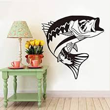Amazon Com Wall Stickers Murals Large Big Mouth Bass Fish Wall Sticker Bathroom Kitchen Ocean Sea Fishing Swimming Fish Animal Wall Decal Bedroom Vinyl Decor 54x56cm Baby