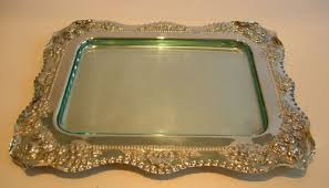 silver plate glass serving tray