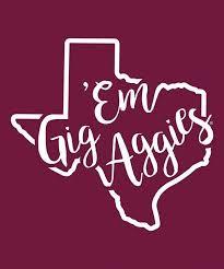 Texas A M Aggie Gig Em Curly Print Decal In 2020 Gig Em Aggies Texas Aggies Decor Texas Aggies