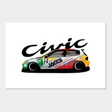 Honda Civic Eg6 Jaccs 90s Jtcc Race Car Civic Posters And Art Prints Teepublic Uk
