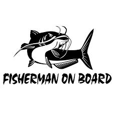 Xsticker 20cm 10 8cm Fisherman On Board Catfish Fishing Decal Car Truck Boat Bumper Window Vinyl Sticker Black Silver Stickers Wish
