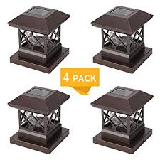 Twinsluxes Fence Post Cap Light Led Solar Lights For Deck Posts Solar Post Caps Light Outdoor For 3 5x3 5 4x4 5x5 Posts Wood Or Vinyl Fence Deck Post Warm Light 4 Pack Brown Buy