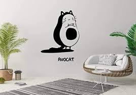 Amazon Com Wall Sticker Cat Pet Avocado Avocat Cute Animal Nursery Kids Room Vinyl Mural Decal Art Decor Eh2388 Handmade