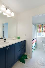 step stool at navy blue bath vanity
