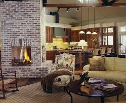 brick fireplace living room farmhouse