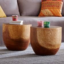 handcarved wooden drum table vivaterra