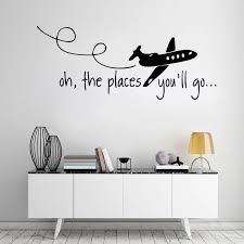 D214 Oh The Places You Ll Go Dr Seuss Kids Wall Decal Hunting Quote Vinyl Art Home Wall Sticker For Kids Room Living Room Decor Sticker For Kids Room Wall Stickers For Kidswall Sticker
