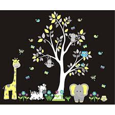 Wall Decals Nursery Jungle Animal Decals Removable And Reusable Nursery Room Decor Safari Wall Decals Yellow And White Colors Cute Nursery Decals Baby Room Dcor Shower Gift Walmart Com Walmart Com