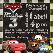 Diseno De Invitacion De Cumpleanos Cars Para Ricky Que Cumple 3