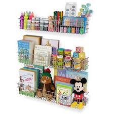 Wall35 Kansas Wall Mounted White Bookshelf For Kids Room Decor Metal Wire Storage Basket Set Of 3 Varying Sizes