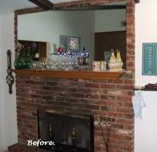 red brick fireplace white mantel on
