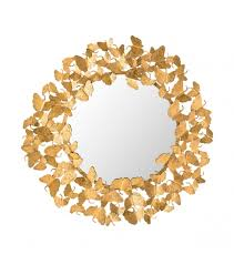 gold metal erfly frame wall mirror