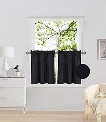 Amazon Com Fancy Collection 2 Panel Black Bedroom Curtains Blackout Draperies Thermal Insulated Solid Rod Pocket Top Drapes For Kid S Room Bathroom Kitchen Privacy Window Dressing New Home Kitchen