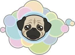 Cute Adorable Kawaii Puppy Dog Cartoon With Rainbow Bubbles Pug Viny Shinobi Stickers
