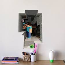 Minecraft Steve Cave 3d Wall Mural Minecraft Decal Video Game Wall Decal Murals Primedecals Playroom Wall Decor Boys Room Decor Video Game Bedroom