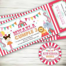 Kit Imprimible Circo Nena Invitaciones Candybar Primer Ano 430