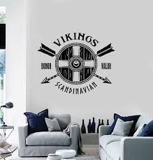 Vinyl Wall Decal Shield Arrows Warriors Viking Weapons Honor Valor Sti Wallstickers4you