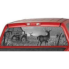 Amazon Com Motorink Deers In A Forrest Rear Window Graphic Decal Tint Sticker Truck John Deer Tractor Large 22 X 65 Automotive