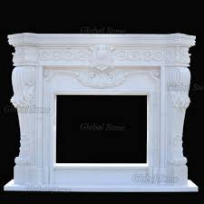 white marble stone fireplace surround