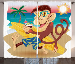 Monkey Curtains 2 Panels Set Hipster Monkey With His Surfboard And Glasses Drinking On Sandy Beach In Sunny Day Kids Theme Living Room Bedroom Decor Multi By Ambesonne Walmart Com Walmart Com
