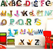 Amazon Com Finduat Alphabet Wall Stickers Decals Removable Animal Abc Vinyl Wall Stickers For Kids Nursery Bedroom Living Room Baby