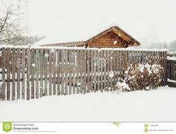 Wood Fence House Building Winter Snow Day Stock Photo Image Of Outdoors Fence 110562466