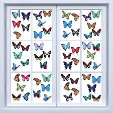 Amazon Com 200 Pieces Butterfly Window Clings Anti Collision Window Clings Decals Static Stickers Colorful Butterflies Window Stickers For Window Decorations Non Adhesive And Removable Home Kitchen