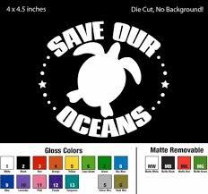 Save Our Oceans Die Cut Decal Window Bumper Sticker Car Turtle Sea Life Planet Home Garden Sea Life Bedroom Decor Decals Stickers Vinyl Art