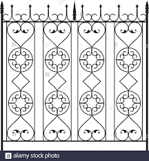 Wrought Iron Gate Door Fence Window Grill Railing Design Stock Vector Image Art Alamy