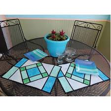 stained glass placemats table runner