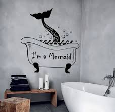 Cute Mermaid Tail Wall Decal Vinyl Removable Vintage Bathroom Wall Stickers Waterproof Washroom Art Murals Wallpaper La909 Quote Sticker Wall Decalswallpaper Funny Aliexpress